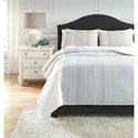 Ashley (Signature Design) Bedding Sets Queen Jenae Blue/Brown Duvet Cover Set - Item Number: Q346023Q