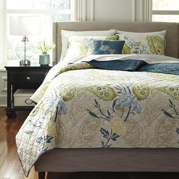 Signature Design by Ashley Bedding Sets Queen Paislette Quilt Teal Top of Bed Set - Item Number: Q360004Q