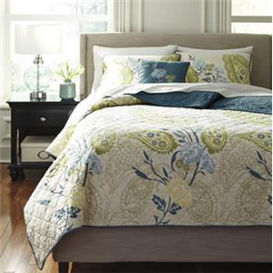 Signature Design by Ashley Bedding Sets Queen Paislette Quilt Teal Top of Bed Set