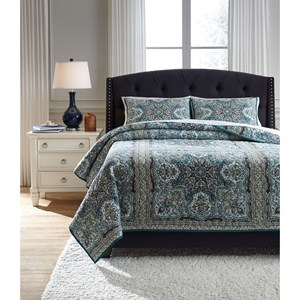 Signature Design by Ashley Bedding Sets King Myrtal Blue/Teal Quilt Set