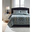 Ashley (Signature Design) Bedding Sets King Myrtal Blue/Teal Quilt Set - Item Number: Q362003K