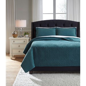 Signature Design by Ashley Bedding Sets Queen Minette Teal Quilt Set