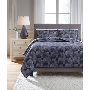 Signature Design by Ashley Bedding Sets Quuen Jabesh Navy Quilt Set