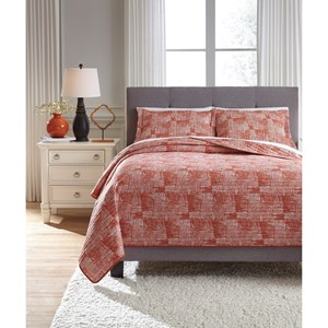 Signature Design by Ashley Bedding Sets Queen Jabesh Orange Quilt Set