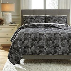 Signature Design by Ashley Bedding Sets Queen Jabesh Black Quilt Set