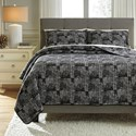 Signature Design by Ashley Bedding Sets King Jabesh Black Quilt Set - Item Number: Q365033K