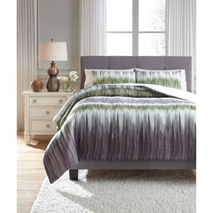 Signature Design by Ashley Bedding Sets Queen Agustus Gray/Green Comforter Set