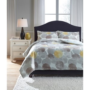 Signature Design by Ashley Bedding Sets King Gastonia Gray/Yellow Comforter Set