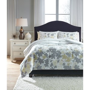 Signature Design by Ashley Bedding Sets King Maureen Gray/Yellow Comforter Set