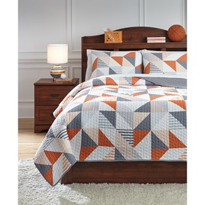 Signature Design by Ashley Bedding Sets Full Layne Gray/Orange Coverlet Set