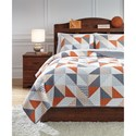 Signature Design by Ashley Bedding Sets Full Layne Gray/Orange Coverlet Set - Item Number: Q408003F
