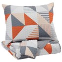 Signature Design by Ashley Bedding Sets Full Layne Gray/Orange Coverlet Set