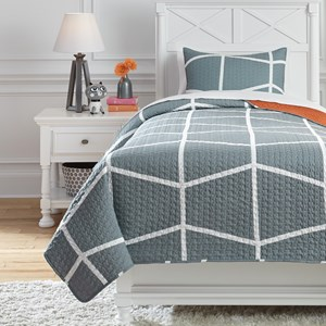 Twin Gage Gray/Orange Coverlet Set