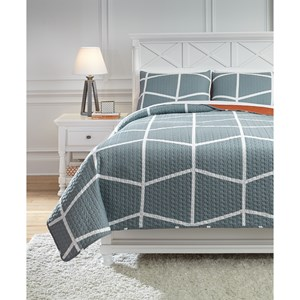 Signature Design by Ashley Bedding Sets Full Gage Gray/Orange Coverlet Set