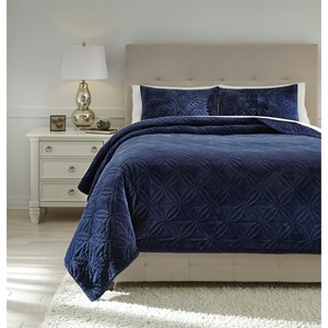 Queen Linette Blue Quilt Set