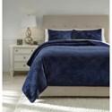 Signature Design by Ashley Bedding Sets Queen Linette Blue Quilt Set - Item Number: Q417013Q
