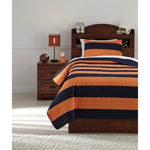 Signature Design by Ashley Bedding Sets Twin Nixon Navy/Orange Coverlet Set