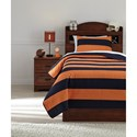 Signature Design by Ashley Bedding Sets Twin Nixon Navy/Orange Coverlet Set - Item Number: Q419001T