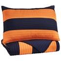 Signature Design by Ashley Bedding Sets Twin Nixon Navy/Orange Coverlet Set