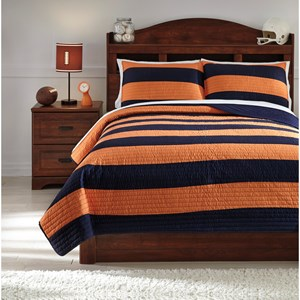 Signature Design by Ashley Bedding Sets Full Nixon Navy/Orange Coverlet Set