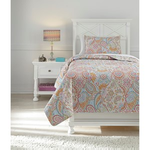 Signature Design by Ashley Bedding Sets Twin Jessamine Pink/Orange Coverlet Set