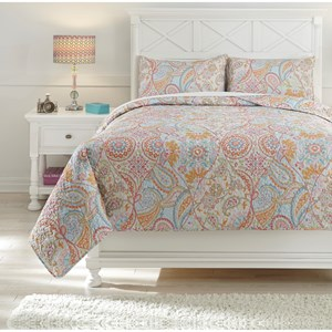 Signature Design by Ashley Bedding Sets Full Jessamine Pink/Orange Coverlet Set