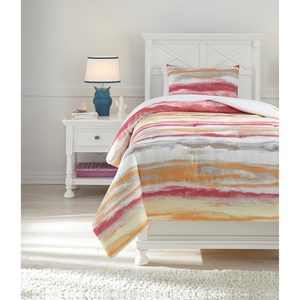 Signature Design by Ashley Bedding Sets Twin Tammy Pink/Orange Comforter Set