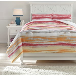 Signature Design by Ashley Bedding Sets Full Tammy Pink/Orange Comforter Set