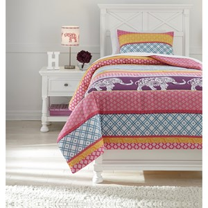 Twin Meghana Pink/Orange Comforter Set