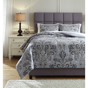 Signature Design by Ashley Bedding Sets Queen Susannah Blue/Cream Comforter Set