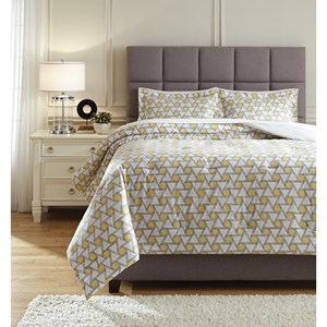 Signature Design by Ashley Bedding Sets King Clio Yellow/Black Comforter Set