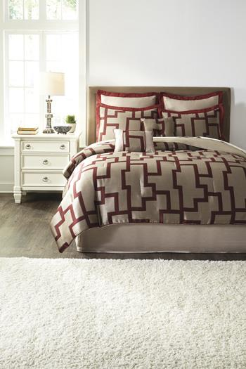 Signature Design by Ashley Bedding Sets Queen Aiza Wine Comforter Set - Item Number: Q436005Q