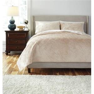 Ashley Signature Design Bedding Sets Queen Patterned Golden Beige Comforter Set