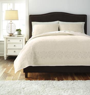 Signature Design by Ashley Bedding Sets Queen Stitched Off White Comforter Set - Item Number: Q470003Q