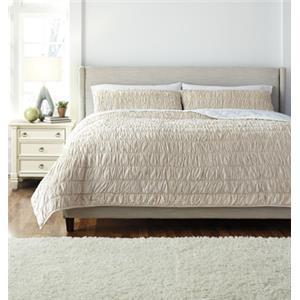 Ashley Signature Design Bedding Sets Queen Stitched Beige Comforter Set