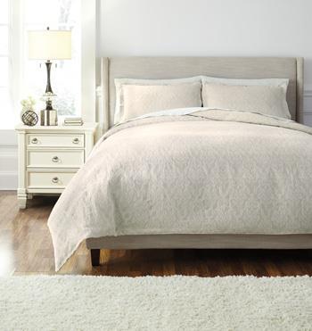 Signature Design by Ashley Bedding Sets Queen Damask Natural Duvet Set - Item Number: Q476003Q