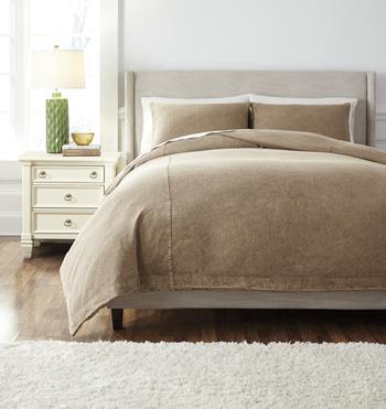 Signature Design by Ashley Bedding Sets Queen Solid Light Brown Duvet Set - Item Number: Q477003Q