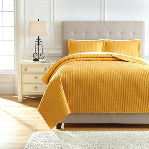 Signature Design by Ashley Bedding Sets Queen Raleda Ochre Coverlet Set