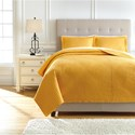 Signature Design by Ashley Bedding Sets Queen Raleda Ochre Coverlet Set - Item Number: Q492003Q