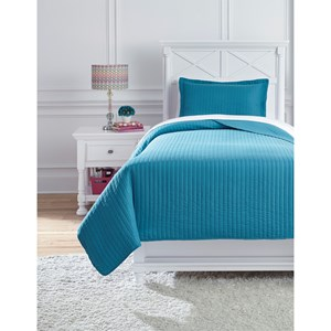 Signature Design by Ashley Bedding Sets Twin Raleda Turquoise Coverlet Set