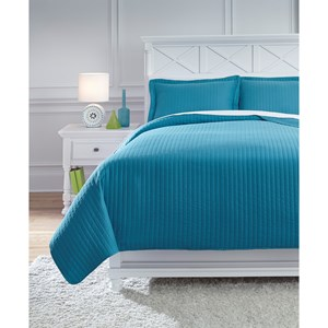 Signature Design by Ashley Bedding Sets Full Raleda Turquoise Coverlet Set