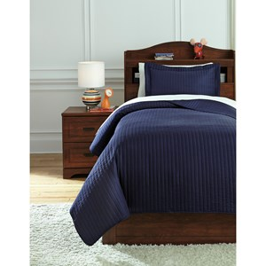 Signature Design by Ashley Bedding Sets Twin Raleda Navy Coverlet Set