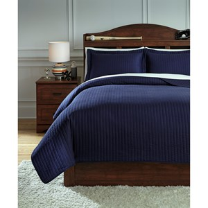 Signature Design by Ashley Bedding Sets Full Raleda Navy Coverlet Set