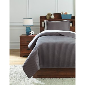 Signature Design by Ashley Bedding Sets Twin Raleda Gray Coverlet Set