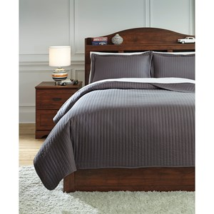 Full Raleda Gray Coverlet Set