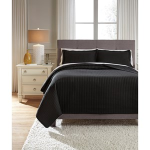 Signature Design by Ashley Bedding Sets Queen Raleda Black Coverlet Set