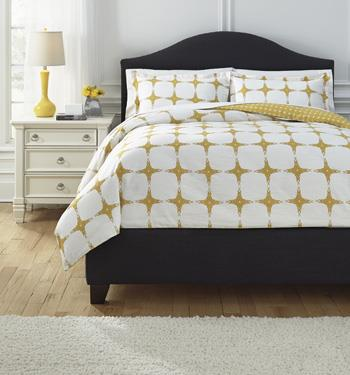 Signature Design by Ashley Bedding Sets Queen Cyrun Yellow Duvet Set - Item Number: Q705003Q
