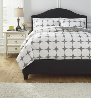 Signature Design by Ashley Bedding Sets Queen Cyrun Gray Duvet Set - Item Number: Q707003Q