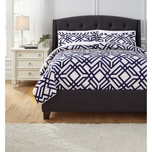 Signature Design by Ashley Bedding Sets Queen Imelda Navy Comforter Set