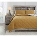 Signature Design by Ashley Bedding Sets Full Cooperlen Golden Brown Quilt Set - Item Number: Q713003F